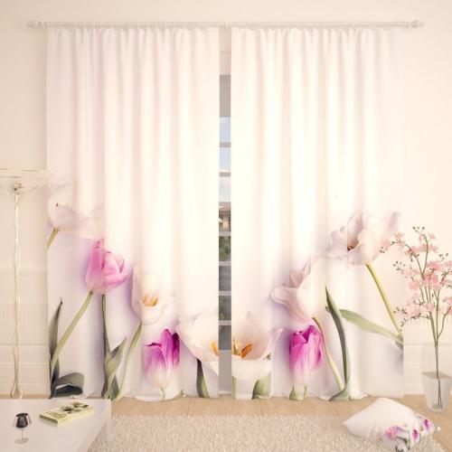 Фотошторы Белые тюльпаны