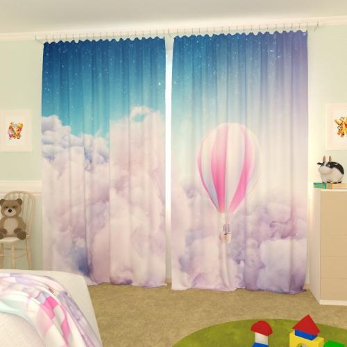 Детские фотошторы Воздушный шар в облаках