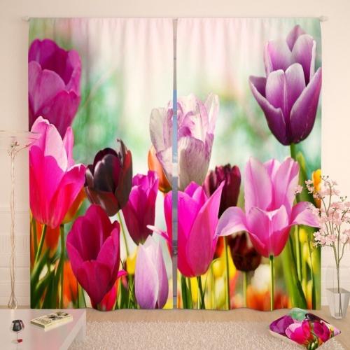 Фотошторы Бордовые тюльпаны