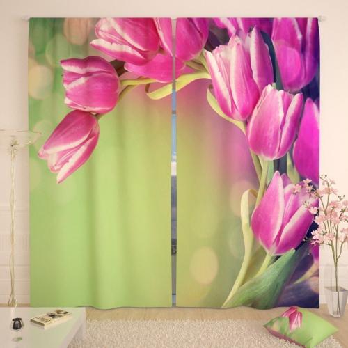 Фотошторы Розовые тюльпаны в зелени