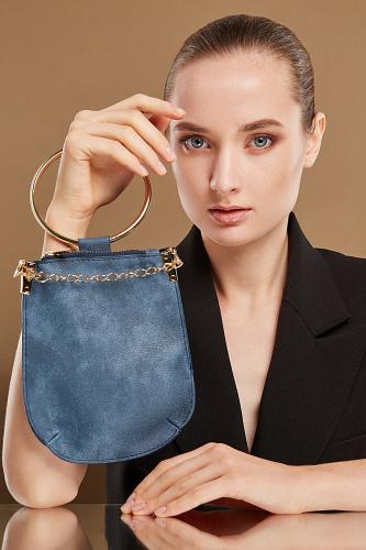 Сумка с ручкой кольцом Очаровательная Николь #197191Золотистый, серо-голубой