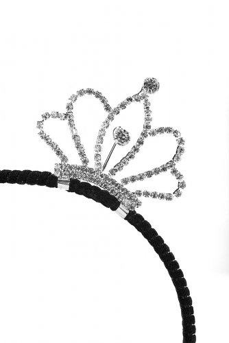 Ободок с короной #195514Черный, серебристый