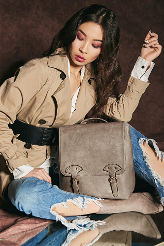 Сумка-рюкзак Леди-бунтарка #195911Коричнево-серый
