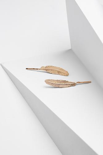 Набор 2 шт. заколки невидимки Голос ночной птицы #196848Золотистый