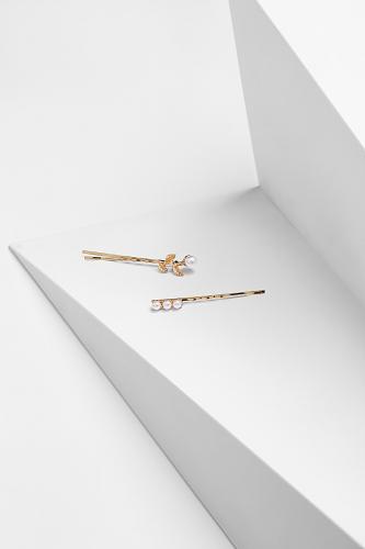Набор 2 шт. заколки невидимки Девушка с жемчужиной #202822Золотистый, белый