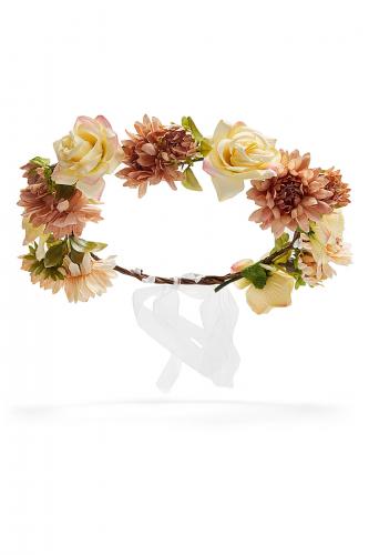 Веночек с розами и астрами Цветущее поле #195306Светло-коричневый