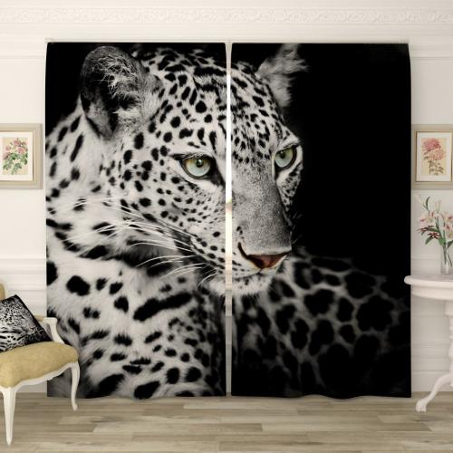 Фотошторы Леопард черно-белый