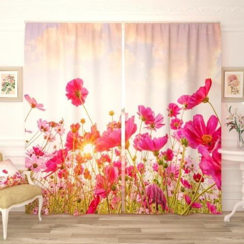 Фотошторы Восход над цветочным полем
