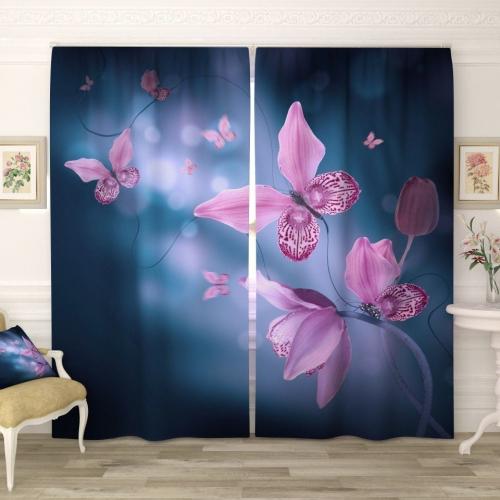 Фотошторы Фиолетовые бабочки в сумраке