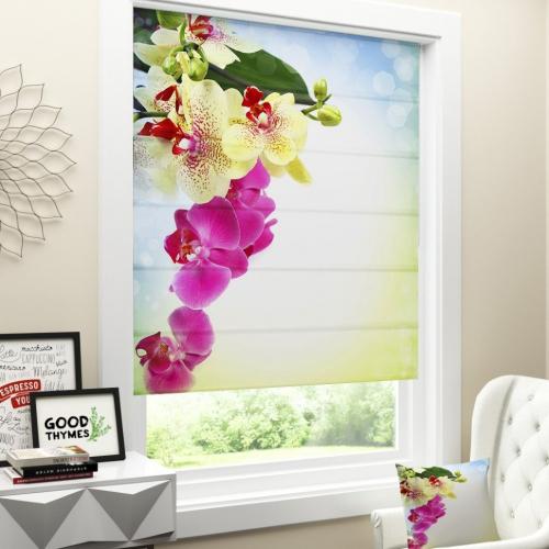 Римская штора Веточка орхидеи