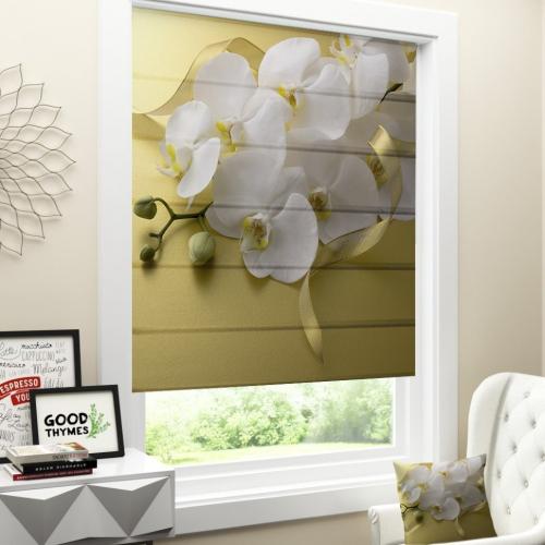 Римская штора Белая орхидея на желтом
