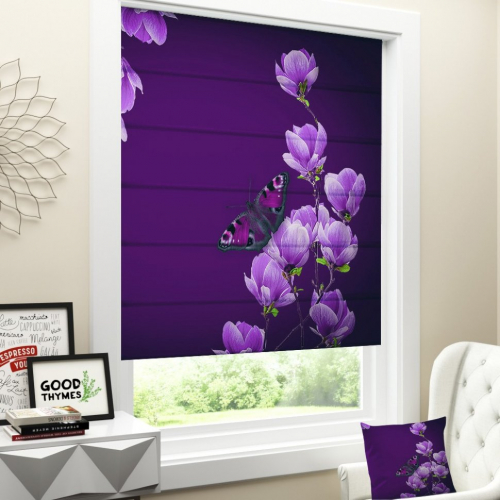 Римская штора Цветы магнолии на пурпурном фоне