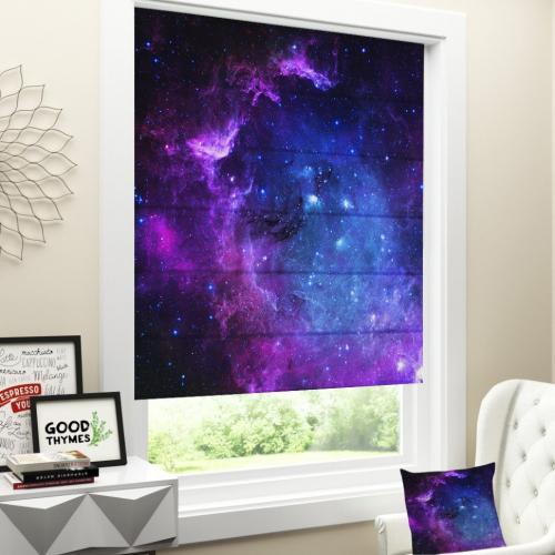 Римская штора Фиолетовое звёздное небо