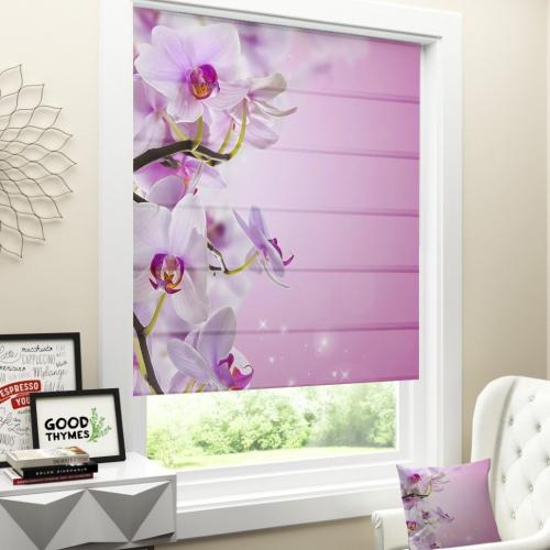 Римская штора Розоватая орхидея
