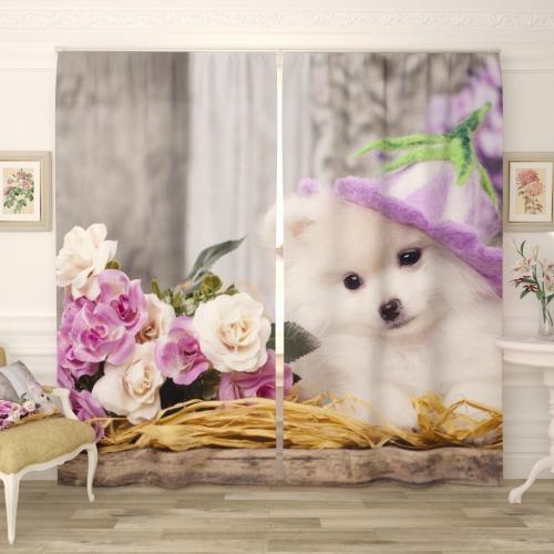 Фотошторы Собачка с цветами