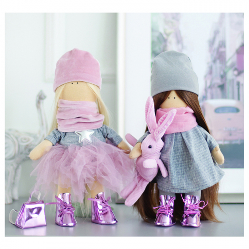 Интерьерные куклы «Подружки Вики и Ники- на праздник» набор для шитья,15,6 × 22.4 × 5.2 см