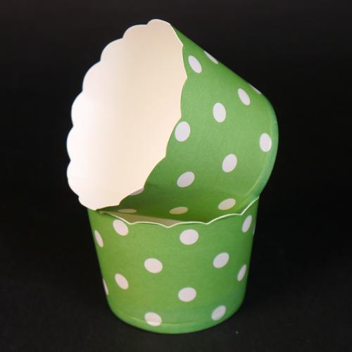 Бумажные стаканчики для кексов Зеленые в горох 50*45 мм, 50 шт