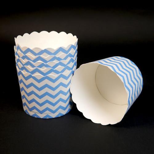 Бумажные стаканчики для кексов голубые полоски 60*56 мм, 50 шт