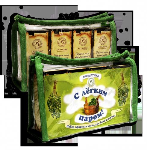 Набор подарочный «С легким паром» (состав: эфирное масло лимонное 10 мл, эфирное масло мяты перечной 10 мл, эфирное масло пихтовое 10 мл, эфирное масло эвкалиптовое 10 мл)