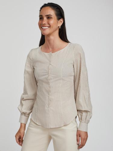 Блуза в полоску с объемными рукавами