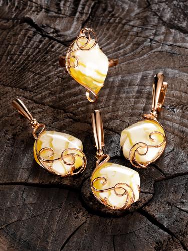 красивые серьги из благородного золота и янтаря
