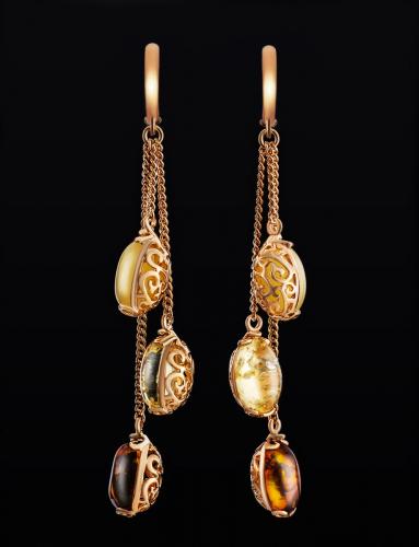 Серьги с натуральным янтарём из серебра с позолотой