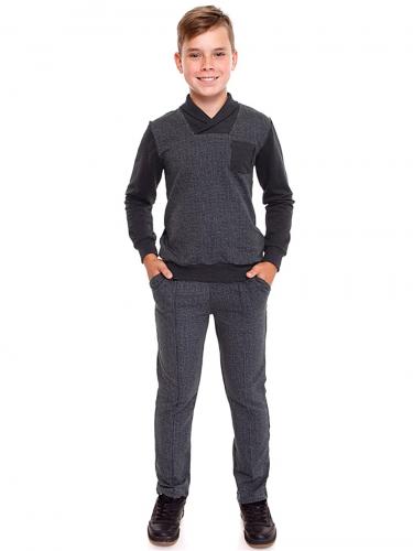 Костюм (кардиган+брюки) #223548Гусиная лапка мелкая серый+антрацит