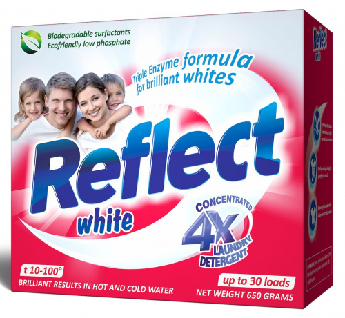 Reflect White Концентрированный стиральный порошок для белых и светлых тканей 650г.