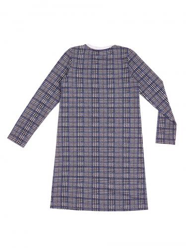 Платье #178807Клетка черный+василек+светло-серый