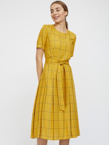 Платье в клетку с металлизированной нитью