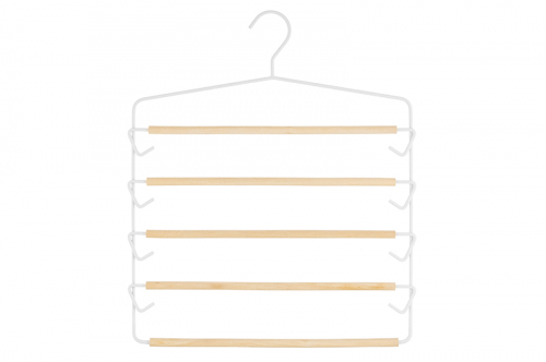Вешалка д/брюк 39*1,2*45,7 см Белая с 5 деревянными перекладинами. EL CASA