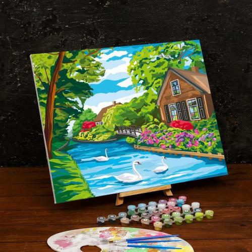 Картина по номерам на холсте с подрамником «Дом у реки» 40×50 см