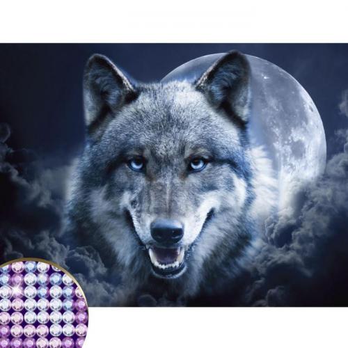 Алмазная вышивка с частичным заполнением «Магия волка» 30х40 см, холст, ёмкость