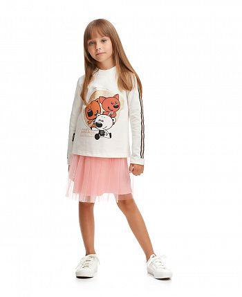 Платье и толстовка (комплект) МИ-МИ-МИШКИ©  69-67пф/молочный/розовый
