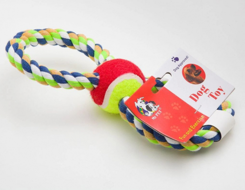 Игрушка для собак канатная восьмерка с мячом посередине, 25 см R32004