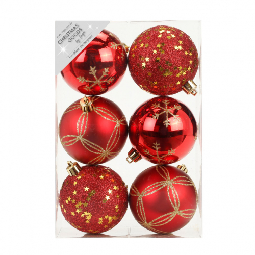 Набор ёлочных шаров INGE'S Christmas Decor 81075G003 d 8 см, красный (6 шт)