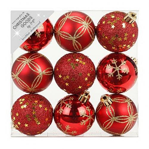 Набор ёлочных шаров INGE'S Christmas Decor 81074G003 d 6 см, красный (9 шт)