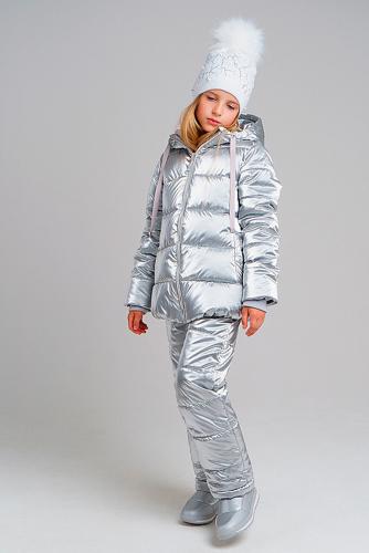 Комплект (Куртка+Полукомбинезон) #238420Серебристый металлик
