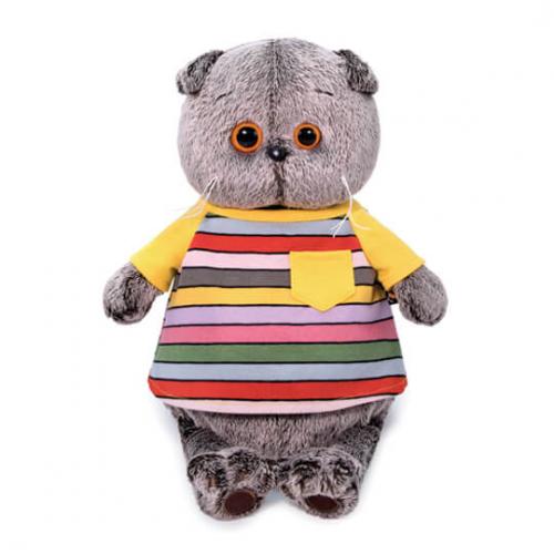 Мягкая игрушка BUDI BASA Басик в полосатой футболке с карманом 30 см