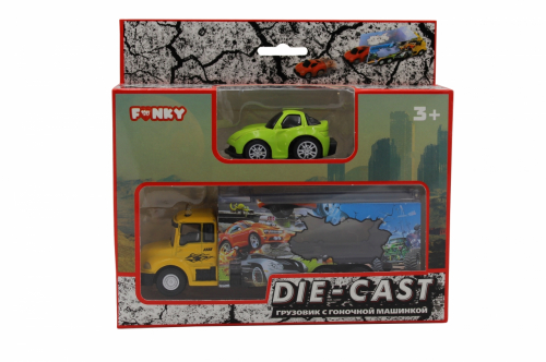Набор FUNKY TOYS грузовик + машинка die-cast зеленая, спусковой механизм 1:60