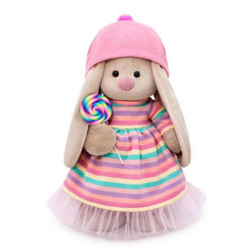 Мягкая игрушка BUDI BASA Зайка Ми в полосатом платье с леденцом 32 см
