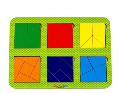 Рамка-вкладыш WOODLANDTOYS Сложи квадрат, 6 квадратов, ур.4