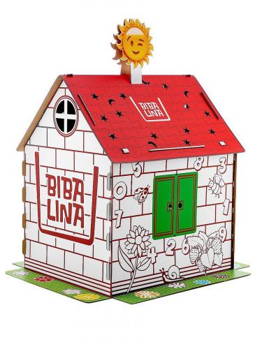 Картонный домик BIBALINA MAX, с английским алфавитом и наклейками