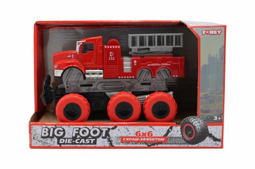 Машина пластиковая FUNKY TOYS пожарная с подъемным механизмом с краш-эффектом, кабина die-cast, 6*6