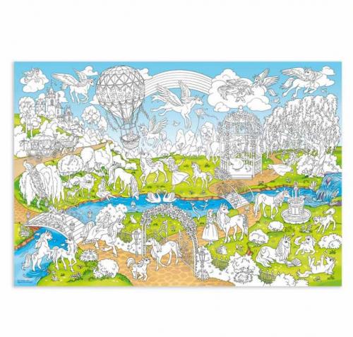 Раскраска-плакат ГЕОДОМ Единороги, большая