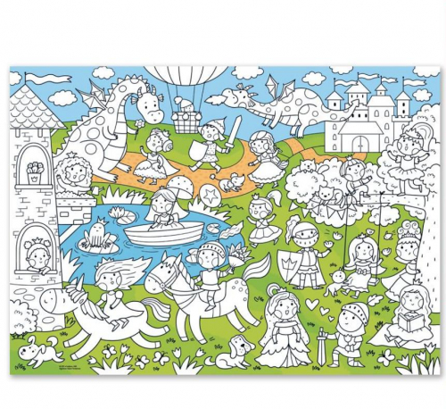 Раскраска-плакат ГЕОДОМ Принцессы, для малышей