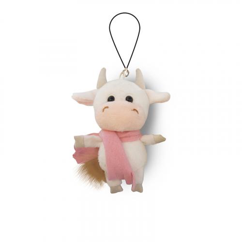 Брелок MAXITOYS LUXURY Коровка белая в розовом шарфике 11 см