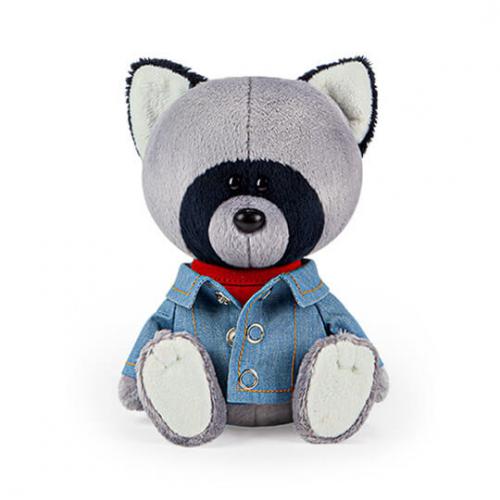 Мягкая игрушка BUDI BASA Енот Лёка в красной майке и джинсовке