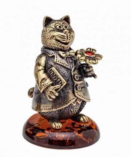Колокольчик Кот с цветком 1073.1