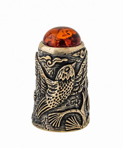 Наперсток Птички Свиристели с кабошоном 1518